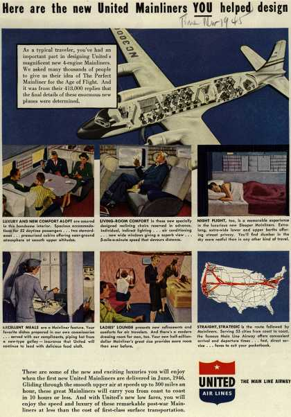 United Air Line's Mainliners – Here are the new United Mainliners YOU helped design (1945)