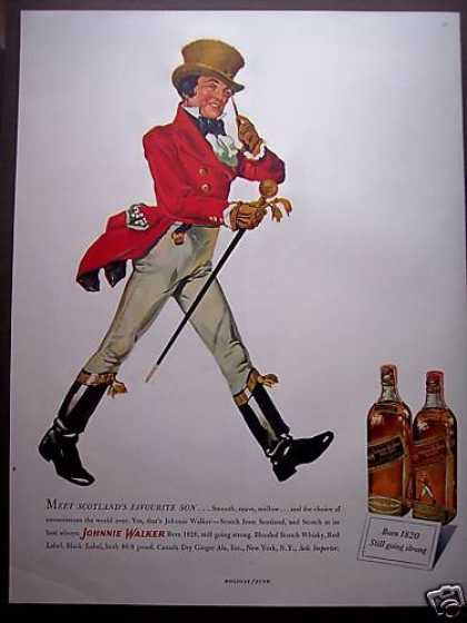 Scotlands Favourite Son Johnnie Walker Scotch (1949)