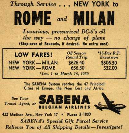 Sabena Belgian Airline's Rome and Milan – Through Service... New York to Rome and Milan (1950)