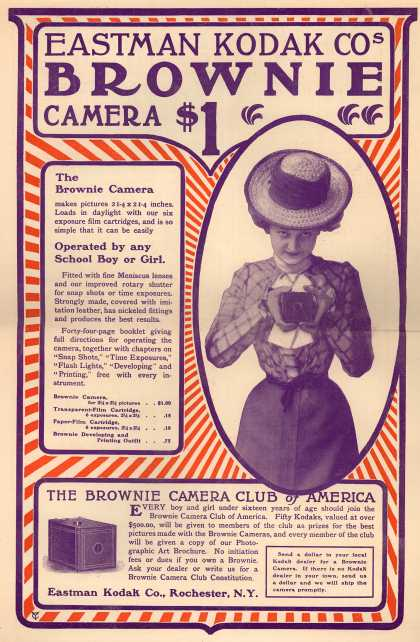 Kodak's Brownie cameras – Eastman Kodak Co.'s Brownie Camera $1 (1900)