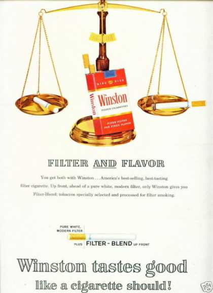 Winston Filter Cigarettes Scale Filter & Flavor (1964)