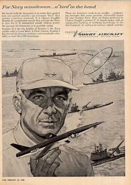 "Chance Vought Aircraft Ad ""For Navy Missilemen... (1958)"