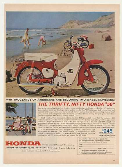Honda 50 Motorbike Motorcycle on Beach (1962)