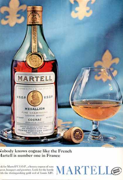 Martell French Cognac Bottle Print (1964)