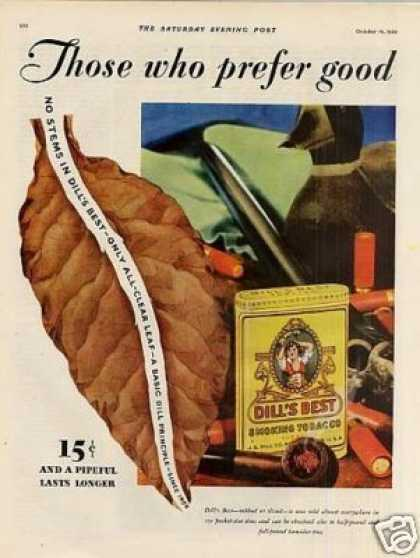 Dill's Best Smoking Tobacco Color Ad 2 Page (1929)