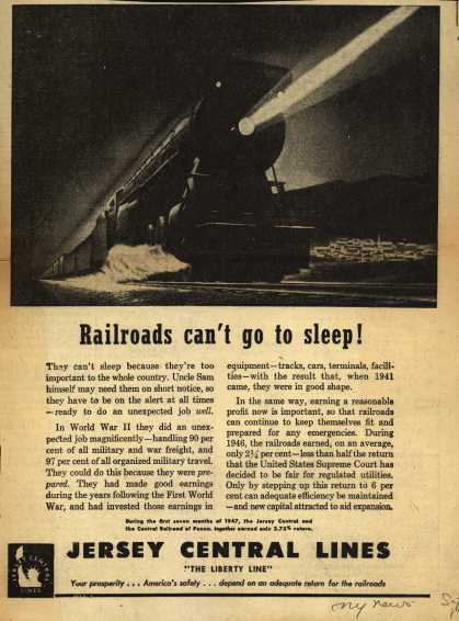 Jersey Central Line's Increase return for railroads – Railroads can't go to sleep (1947)