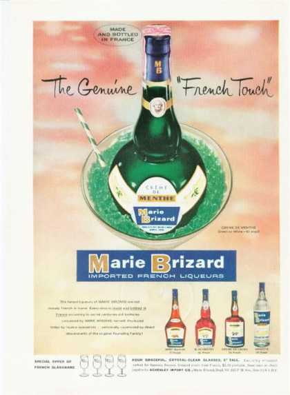 French Marie Brizard Creme De Menthe Bottle (1959)