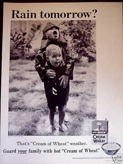 Kids Play In Rain Great Photo Cream of Wheat (1958)