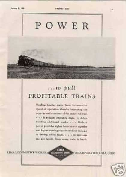 "Lima Locomotive Ad ""To Pull Profitable... (1938)"
