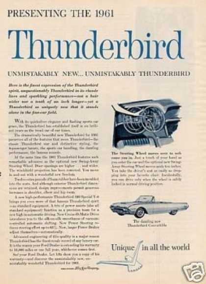 Ford Thunderbird Car Ad 2 Page (1961)