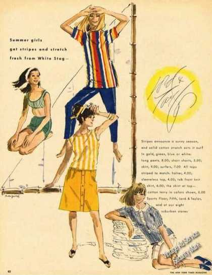 Summer Girls Fashion Drawings Advertising (1965)