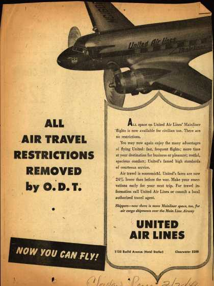 United Air Lines – ALL AIR TRAVEL RESTRICTIONS REMOVED BY O.D.T. (1946)