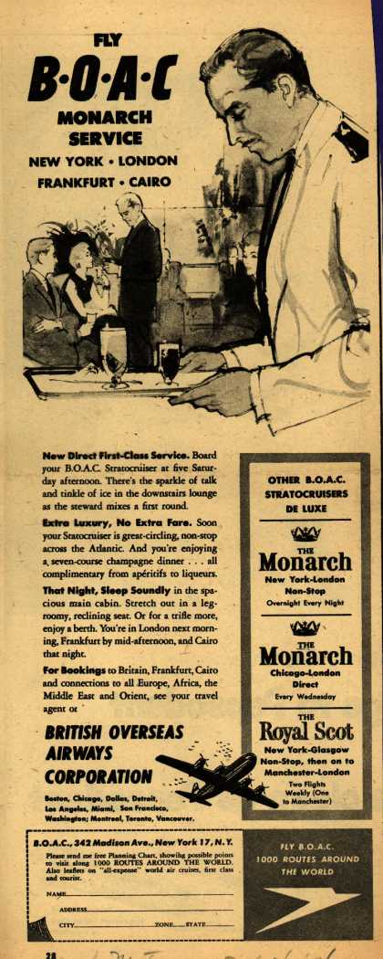 British Overseas Airways Corporation's Monarch Service – FLY BOAC MONARCH SERVICE (1954)