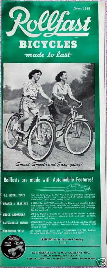 Rollfast Bicycles Bikes Girls Riding (1948)