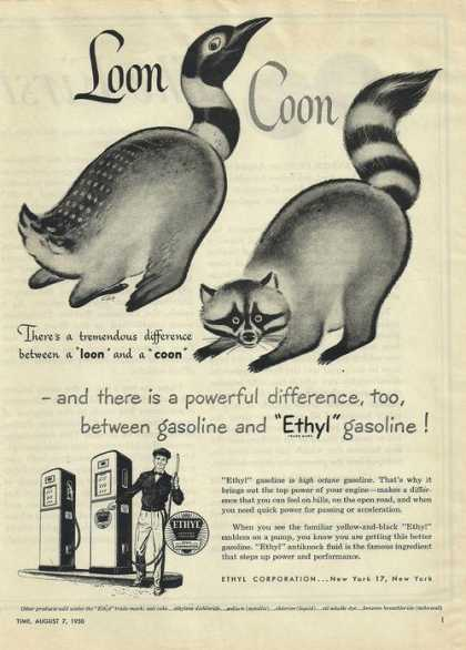 Loon Coon Difference Ethyl Gasoline (1950)