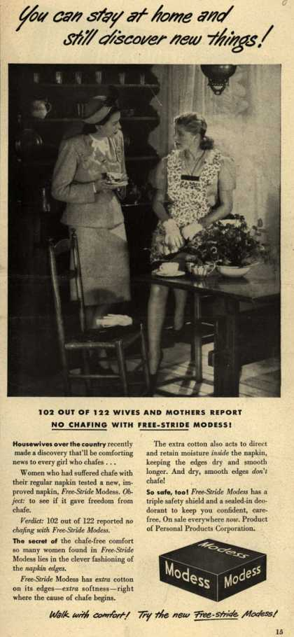 Modes's Sanitary Napkins – You can stay at home and still discover new things (1947)