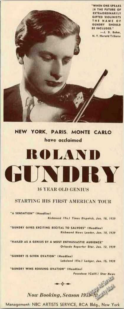 Roland Gundry Photo Violin Antique Trade (1939)