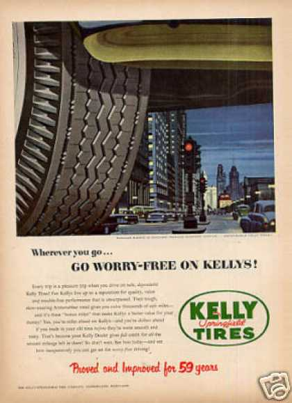 Kelly Tires Ad Michigan Avenue (1953)