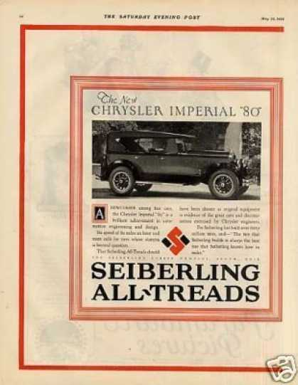 Seiberling Tire 2 Page Ad Chrysler Imperial Car (1926)