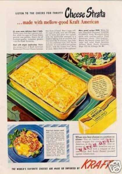 Kraft Cheese Ad Cheese Strata (1949)