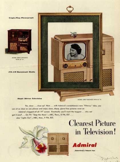 Admiral Corporation's Television Combinations – tv, radio, phonograph – Clearest Picture in Television (1950)