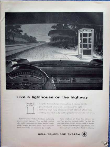 Bell Telephone Phone Booth Night Road Lighthouse (1959)