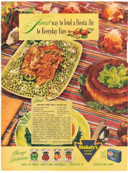 Stokley's Foods – Recipe for Peas Mexicali (1948)