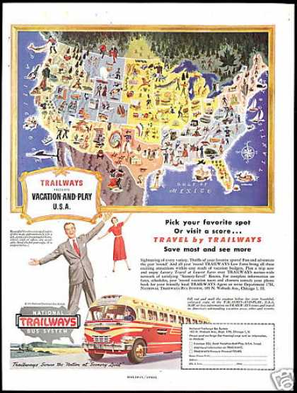 National Trailways Bus Travel US Map (1949)