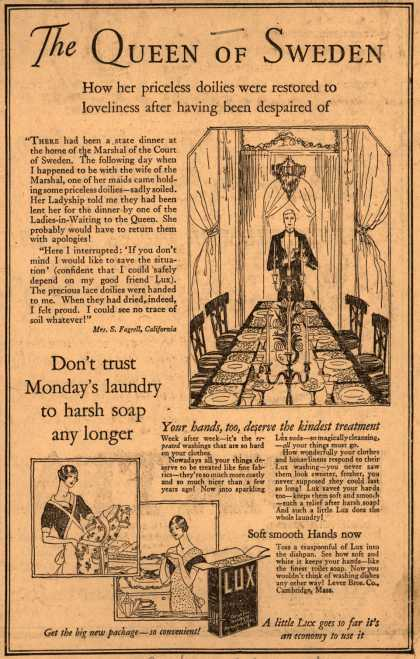 Lever Bros.'s Lux (laundry flakes) – The Queen of Sweden (1925)