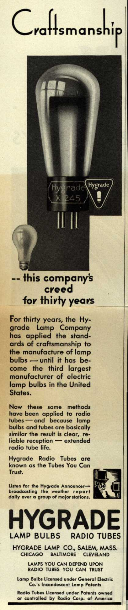 Hygrade Lamp co.'s Radio Tubes – Craftsmanship – this company's creed for thirty years (1930)