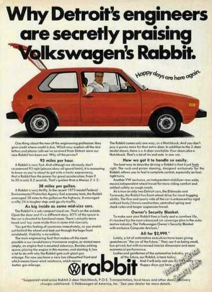 "Vw Volkswagen Rabbit ""Detroit's Engineers"" (1975)"