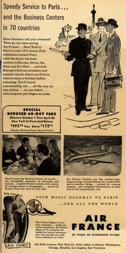 French National Airline's business travel – Speedy Service to Paris... and the Business Centers in 70 countries (1949)