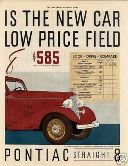 Pontiac Straight Eight Car Color Ad 2 Page (1933)