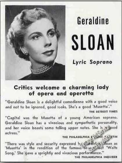 Geraldine Sloan Photo Lyric Soprano Trade (1951)