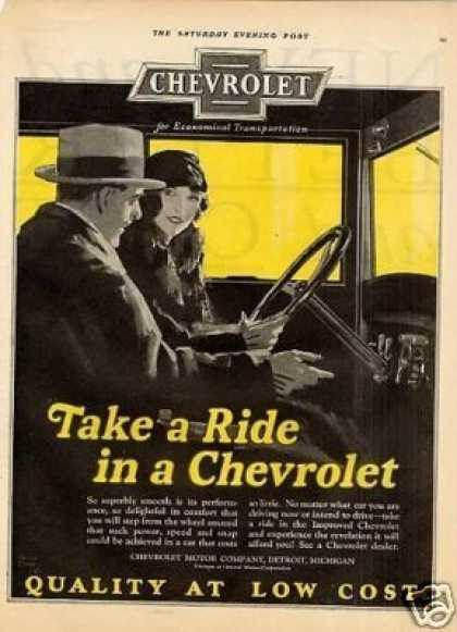 "Chevrolet Car Color Ad ""Take a Ride... (1926)"