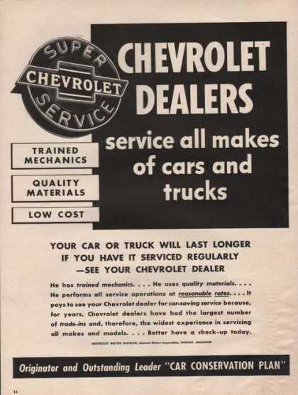 Chevrolet Dealers Service Cars & Truck (1942)