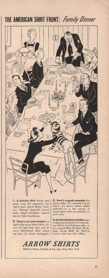 Arrow Shirt Family Dinner Cartoon (1941)