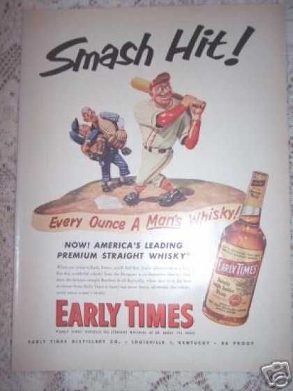 Early Times Whiskey Baseball Slugger Art (1953)