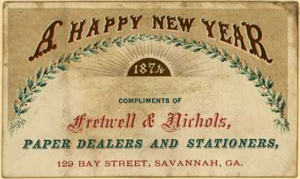Fretwell &amp; Nichol&#8217;s Paper Dealers and Stationers &#8211; A Happy New Year (1874)