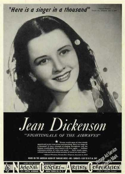 "Jean Dickenson ""Nightingale of the Airways"" (1945)"
