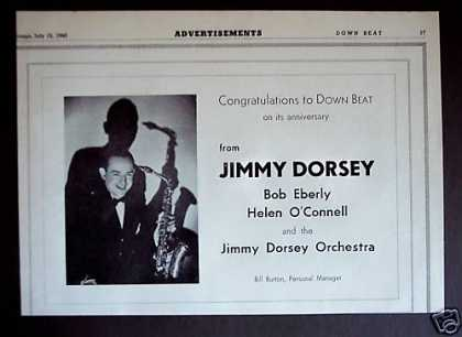 Jimmy Dorsey Photo Down Beat Magazine Promo (1940)