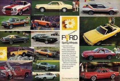 Ford Cars 2 Pg Print Ad Showing All Models (1977)