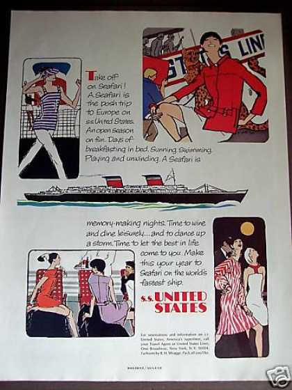 Ss United States Cruise Ship Art (1966)