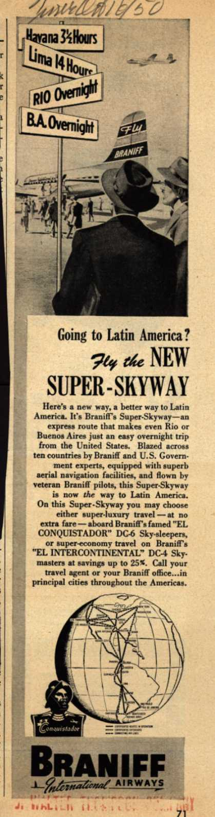 Braniff International Airway's Latin America – Going to Latin America? Fly the NEW SUPER-SKYWAY (1950)
