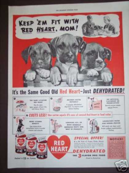 's Puppies In a Basket Red Heart Dog Food (1940)