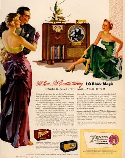 Zenith Radio Corporation's Television with Blaxide Tube – It's New... It's Breath-Taking... It's Black Magic (1950)