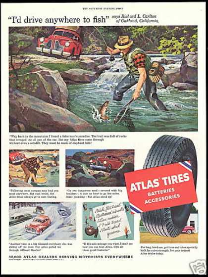 Fly Fisherman Oakland California Atlas Tires (1954)
