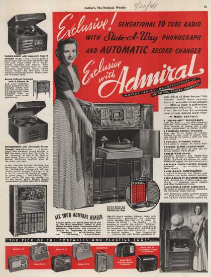 Admiral's Various – Exclusive! Sensation 10 Tube Radio with Slid-A-Way Phonograph and Automatic Record Changer (1941)