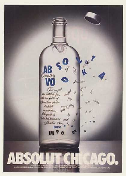Absolut Chicago Windy Vodka Bottle (1991)