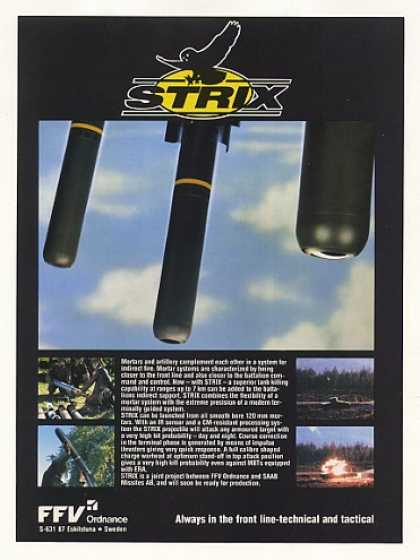 FFV Ordnance STRIX Guided Mortar Missile (1990)